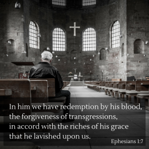 He has redeemed us by his blood.